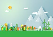 Green eco city with nature landscape background. Green eco friendly city and nature forest landscape abstract background.Paper art of ecology and environment vector illustration