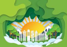 Green eco city paper art background Royalty Free Stock Image