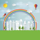 Green eco city paper art style. Royalty Free Stock Photo
