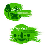 Green eco city park nature vector icons Stock Images