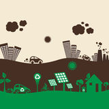 Green eco city and polluted city Royalty Free Stock Images