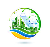 Green eco city with private houses, panel houses, wind turbines stock illustration