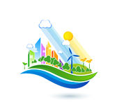 Green eco city with private houses, panel houses, wind turbines Royalty Free Stock Image