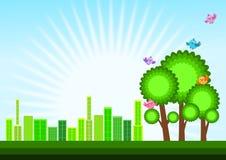 Green Eco city skyline concept Stock Photos