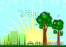Green Eco city skyline concept Stock Image