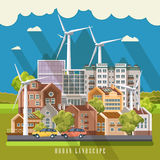 Green eco city vector concept with wind power station. Infographic with set of buildings and infrastructure. Royalty Free Stock Image