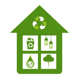 Green Eco Concept. Green home eco friendly design concepts - recycle bin, energy saver lights, water conservation, reforestation Stock Images