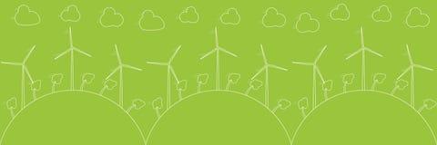 Green eco concept - wind energy. Wind generators, vector illustration. Alternative power energy technology. Stock Image