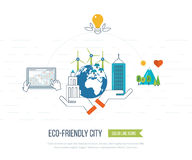 Green eco and eco-friendly city concept. Royalty Free Stock Photography