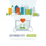 Green eco and eco-friendly city concept. Royalty Free Stock Image