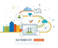 Green eco and eco-friendly city concept. Royalty Free Stock Photo
