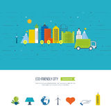 Green eco and eco-friendly city concept. Smart city. Royalty Free Stock Photography