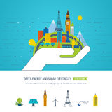 Green eco and eco-friendly city concept. Solar electricity. Royalty Free Stock Photography