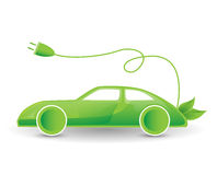 Green eco electric car illustration Royalty Free Stock Images