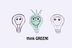 Green eco energy concept, three light bulbs Royalty Free Stock Image