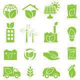 Green eco and environment icons. Green eco and environment icon set Stock Photography