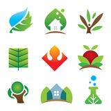 Green eco environment science creation for brighter future icon set Royalty Free Stock Images