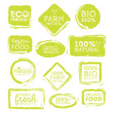 Green Eco Food Labels. Health Headings. Vector Illustration Collection.  Royalty Free Stock Images