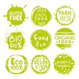 Green Eco Food Lables Set. Green Eco Food Labels. Vector Illustration Collection Stock Illustration