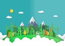 03.Green city and nature landscape paper art style. Green eco friendly and cityscape abstract background.Paper art of ecology and environment conservation stock illustration