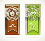 Green eco friendly and coffee template banners Royalty Free Stock Images
