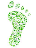Green eco friendly footprint filled with ecology icons. Isolated green eco friendly footprint filled with ecology icons from white background royalty free illustration