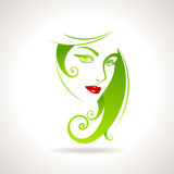 Green eco friendly icon with women face Stock Photos