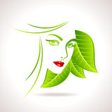 Green eco friendly icon with women face Royalty Free Stock Image