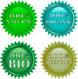 Green eco friendly  labels. Four  green eco friendly  labels 100 Royalty Free Stock Images