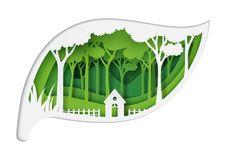Paper carve of green leaf with eco concept. Green eco friendly living and forest nature landscape with ecology and environment conservation concept design with Vector Illustration