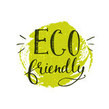 Green eco friendly sticker with handwritten Royalty Free Stock Photos