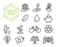 Green eco friendly environment thin line icon set. Green eco friendly thin line icon set, environment conservation symbol collection in modern outline style vector illustration