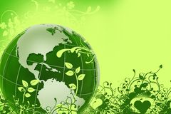 Green Eco Globe. Global Green Energy Illustration with Green Earth/Globe Model and Floral Ornaments. Green Background Royalty Free Stock Photo