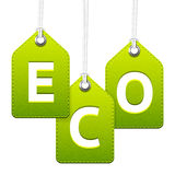 Green eco hanging tags Royalty Free Stock Photos