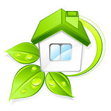 Green eco home. Three dimensional illustration of green eco home with dewy leaves, isolated on white background Stock Image