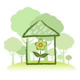 Green Eco Home. Concept constructed from sustainable wood resources Stock Photo