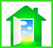 Green eco house. With door and cloud, sun, grass Royalty Free Stock Photos