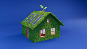 Green eco house on blue background. 3D Rendering Stock Images
