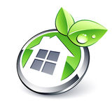 Green eco house button Stock Photo