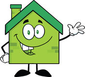 Green Eco House Cartoon Character Waving For Greeting. Happy Green Eco House Cartoon Character Waving For Greeting Stock Photo