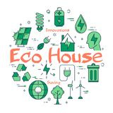 Green Eco House concept. Vector linear green round concept of Eco House. Line icons of planet care, alternative sources of nutrition, green spaces and clean Stock Image
