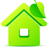 Green eco house 3d vector icon Stock Image