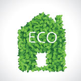 Green eco house icon made of leaves. Concept  image Stock Photography