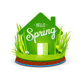 Green eco house. Icon with open door and grass isolared on white background. Hello Spring lettering. Vector illustration Royalty Free Stock Image