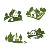 Green eco house icon for real estate design. Green ecohouse icon for eco friendly real estate company emblem. Green home with tree and grass lawn, pathway and Royalty Free Stock Images