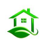 Green Eco House Logo. 3D Rendering Illustration. Green Eco House with Leaf Logo. 3D Rendering Illustration Royalty Free Stock Photo