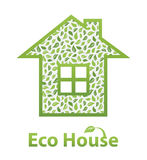 Green Eco House. Made of leaves Royalty Free Stock Photos