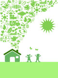 Green Eco icon house. The background of green Eco icon house Stock Photography