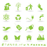 Green eco icon set Royalty Free Stock Photography