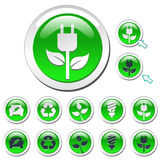 Green Eco Icons Stock Images